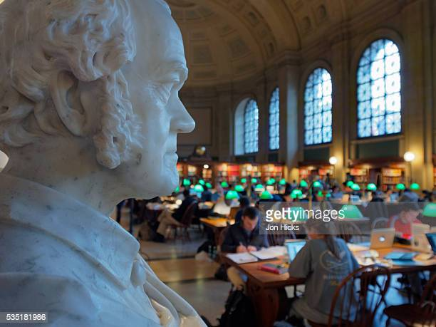 The Main Reading Room in the Boston Public Library.