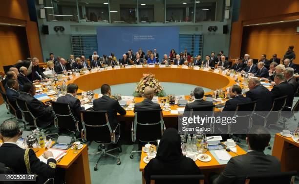 The main session at an international summit on securing peace in Libya at the Chancellery begins on January 19 2020 in Berlin Germany Leaders of...