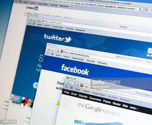 The main social network on web in white lcd screen