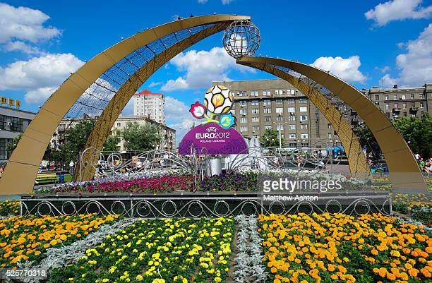 The main square at Pivdenyi Vokzal in front of the main train station in UEFA European Championships Euro 2012 host city Kharkiv Ukraine with Euro...
