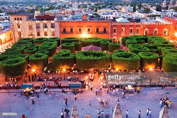"""the main square """"jardin"""" at dusk from the parroqui"""