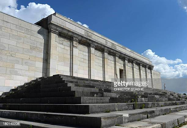 The main stage of the 'Zeppelinfeld' of the Reichsparteitagsgelaende in Nuremberg southern Germany is pictured on September 9 2013 It is the only...