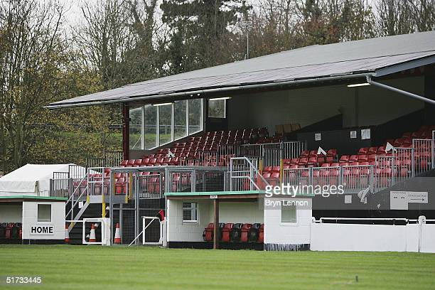 The main stand is seen at Histon's ground The Bridge prior to the FA Cup match between Histon FC and Shrewsbury Town on November 12 2004 in...