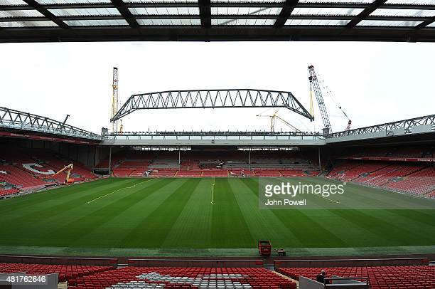 The Main Stand roof truss is attached to the stand at Anfield on July 24 2015 in Liverpool England