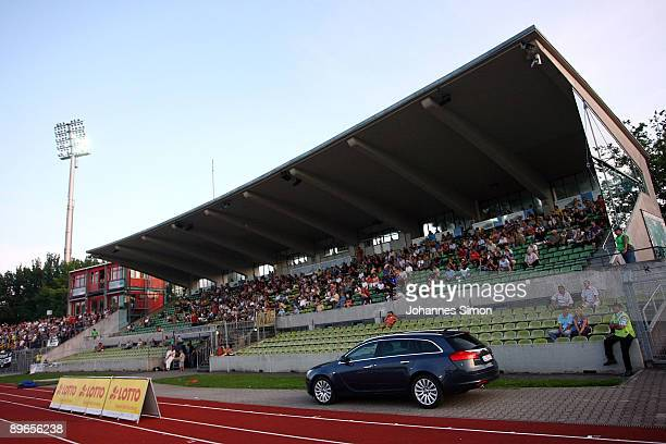 The main stands of the Donaustadion is seen during the Regionalliga match SSV Ulm 1846 v Bayern Alzenau at Donaustadion on August 7, 2009 in Ulm,...