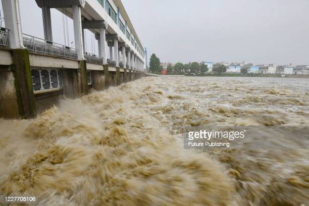 The main stream of Huaihe River was opened for flood discharge. Fuyang City, Anhui Province, China, July 20, 2020.- PHOTOGRAPH BY Costfoto / Barcroft...