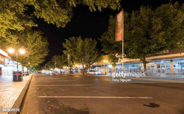 the main street in dubbo town by night, decorated to celebrate christmas and new year. dubbo are developing dramatically recently. - dubbo australia stock pictures, royalty-free photos & images