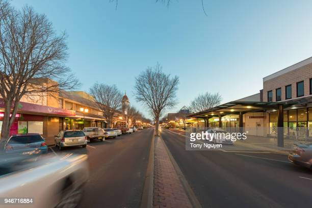 the main street in dubbo town by night. dubbo are developing dramatically recently. - dubbo australia stock pictures, royalty-free photos & images