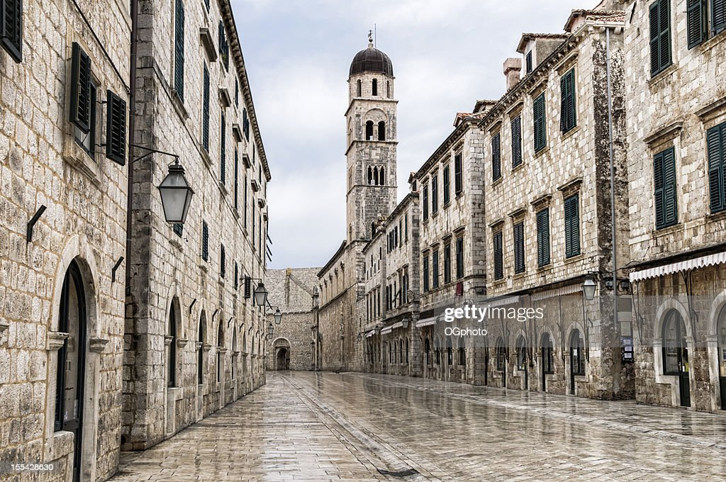 The main street located in the town of Dubrovnik, Croatia  : Stock Photo