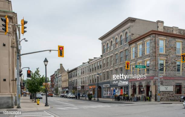 the main street of small town cambridge, ontario,  canada - town stock pictures, royalty-free photos & images