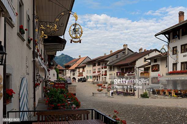 The main street of the medieval city of Gruyères