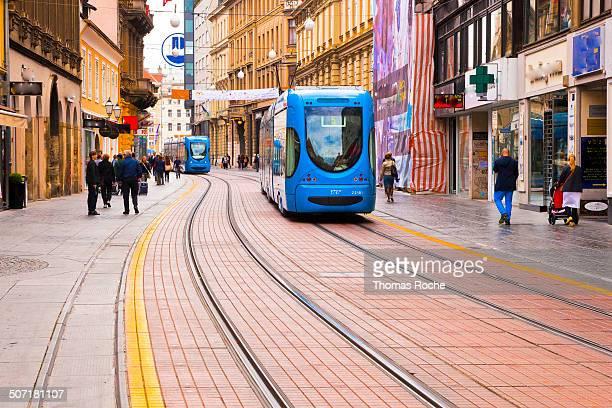 The main street of Zagreb is only for the streetcars and pedestrians making it an ideal shopping street for the residents.