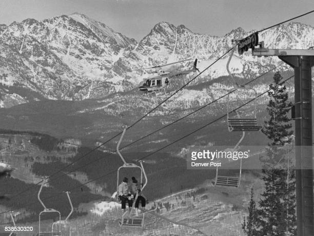 The Majestic Gore Range and A TV Helicopter Loom Above the Expanse of Beaver Creek America's Newest Ski Area Credit Denver Post