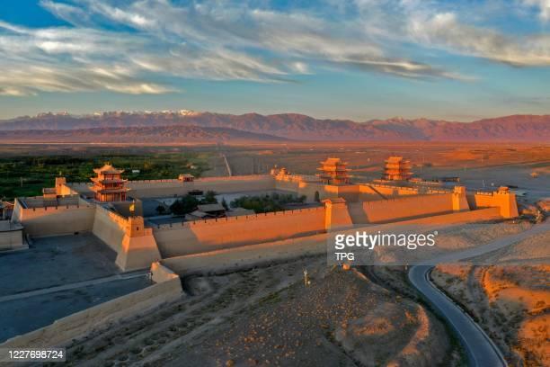 The majestic Jiayuguan in the sunrise on 19th July, 2020 in Jiayuguan,Gansu,China.