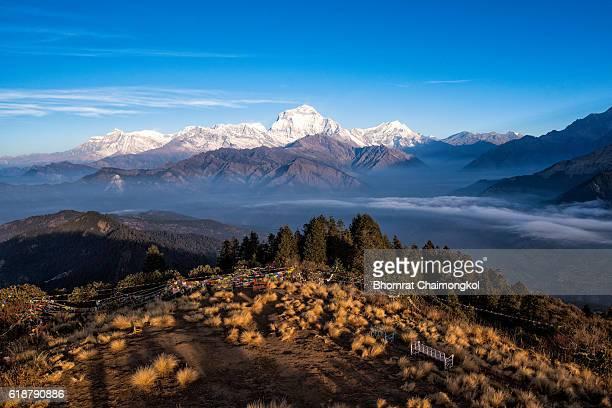 the majestic of himalayan mountain range during sunrise - kathmandu stock pictures, royalty-free photos & images