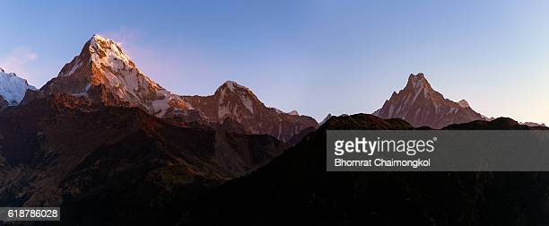 The majestic panorama view of Himalayan mountain range during sunrise
