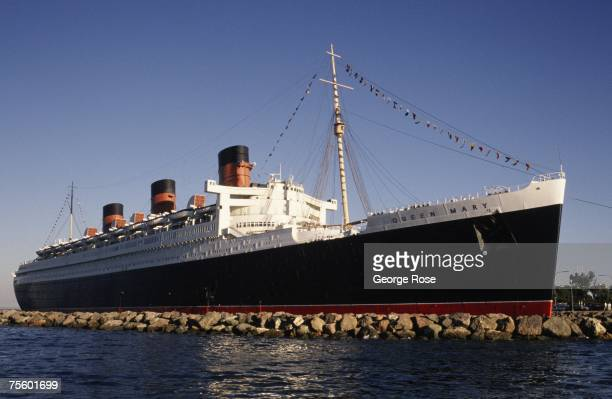 The majestic Queen Mary passenger liner now permanently docked and converted into a hotel is seen in a 1989 Long Beach California photograph The ship...