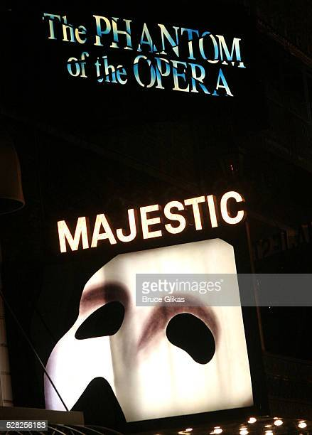 The Majestic Theater during Phantom of the Opera Becomes the Longest-Running Show on Broadway at The Majestic Theatre in New York City, New York,...