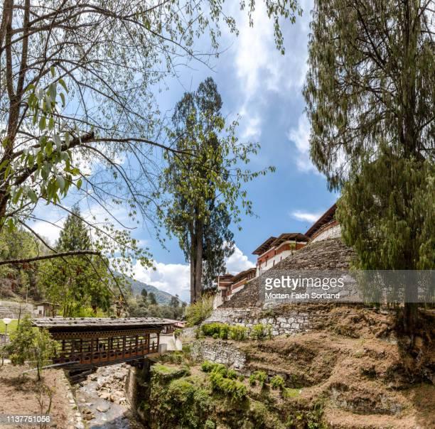 the majestic trongsa dzong on a hill in trongsa, bhutan - trongsa district stockfoto's en -beelden