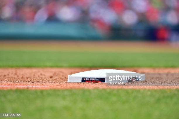 The Major League Baseball All Star Game logo on the side of first base during the fifth inning of the game between the Cleveland Indians and the...