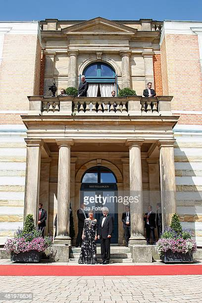 The major of Bayreuth Bettina MerkErbe and her husband Thomas Erbe attend the Bayreuth Festival 2015 Opening on July 25 2015 in Bayreuth Germany