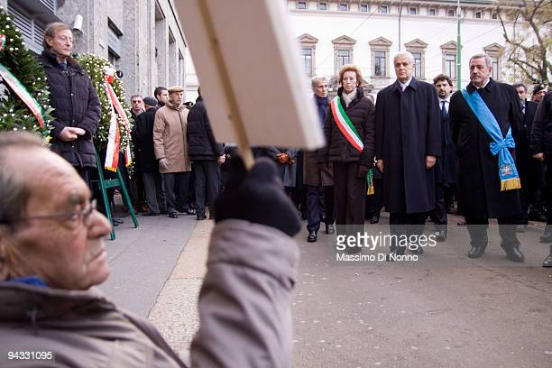 The major of Milan Letizia Moratti Lombardy Region President Roberto Formigoni and President of province of Milan Guido Podestá attend at the...