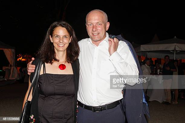 The major of Regensburg Joachim Wolbergs and his wife Anja Wolbergs attend the Thurn Taxis Castle Festival 2015 The Wall on July 21 2015 in...