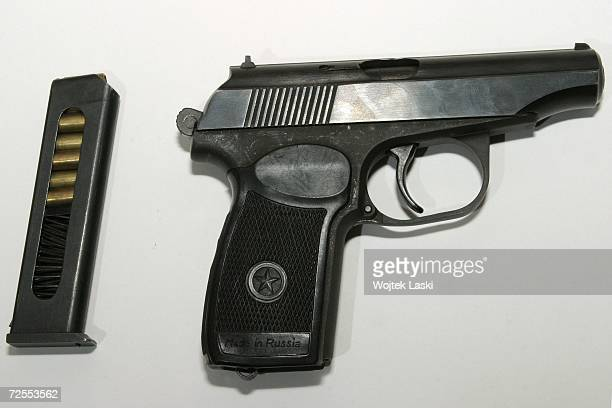 The Makarov PM semiautomatic pistol is displayed with its magazine October 14 2003 in Moscow Russia The handgun was designed in the late 1940s by...