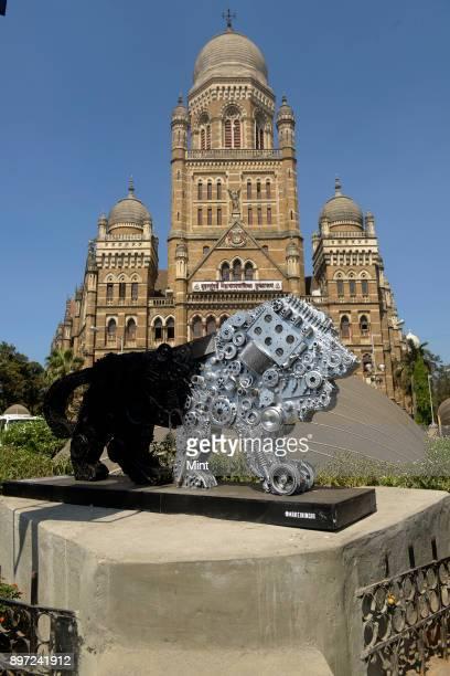 The Make in India mascot put up outside the Mumbai Municipal Corporation building on February 12 2016 in Mumbai India