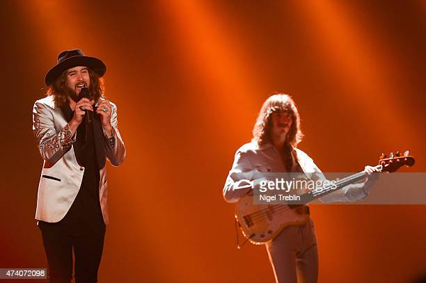 The Makemakes of Austria performs on stage during rehearsals ahead of the Eurovision Song Contest 2015 on May 20, 2015 in Vienna, Austria. The final...