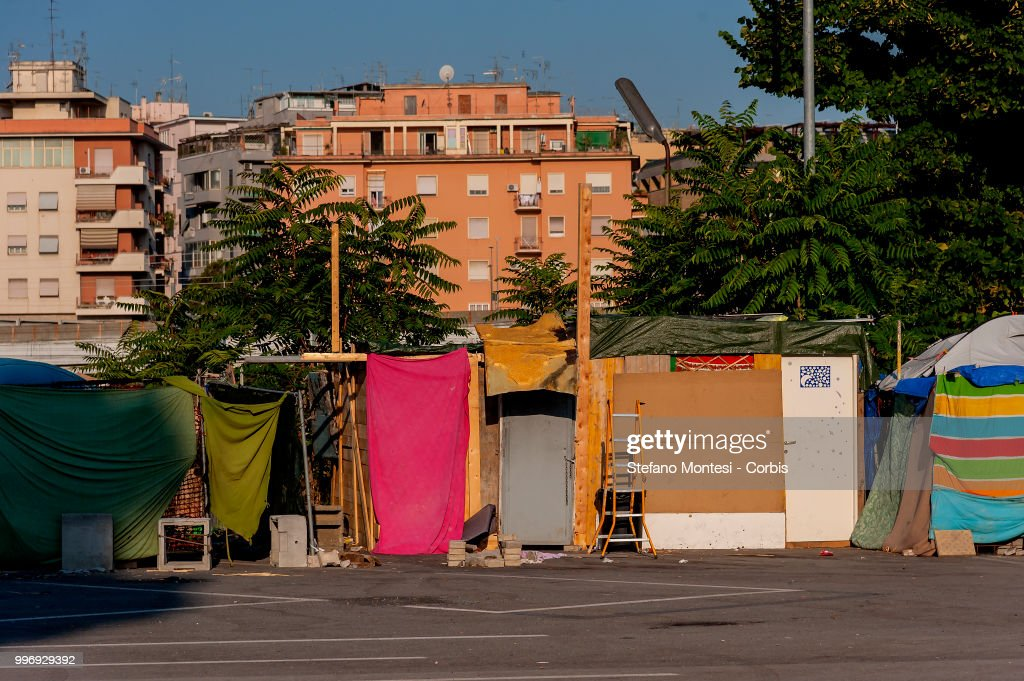 The makeshift camp for migrants and refugees on July 12, 2018 in Rome, Italy. About three hundred African, Kurdish and Eritrean migrants live in the Baobab migration centre, a makeshift camp of about 200 tents and shacks near Tiburtina train station without water, electricity and toilets.