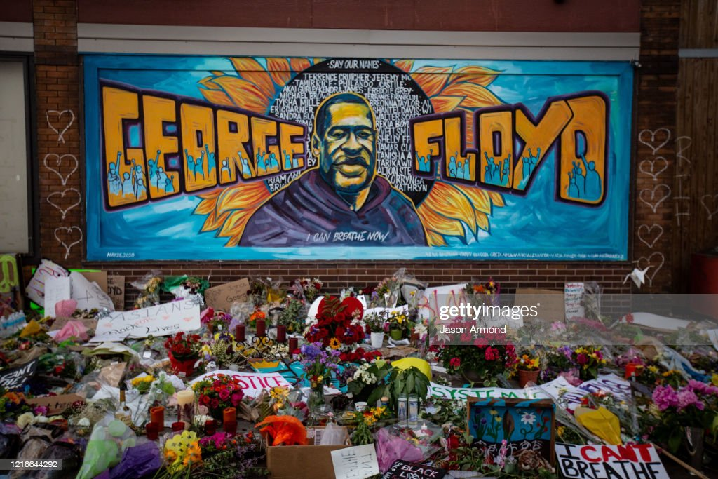 The makeshift memorial outside Cup Foods where George Floyd was murdered by a Minneapolis  police officer : News Photo