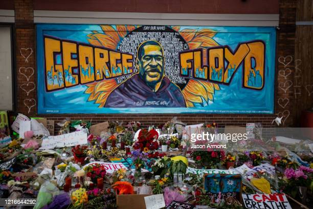 The makeshift memorial and mural outside Cup Foods where George Floyd was murdered by a Minneapolis police officer on Sunday May 31 2020 in...