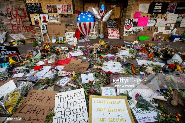 The makeshift memorial surrounding Cup Foods where George Floyd was murdered by a Minneapolis police officer on Sunday May 31 2020 in Minneapolis...