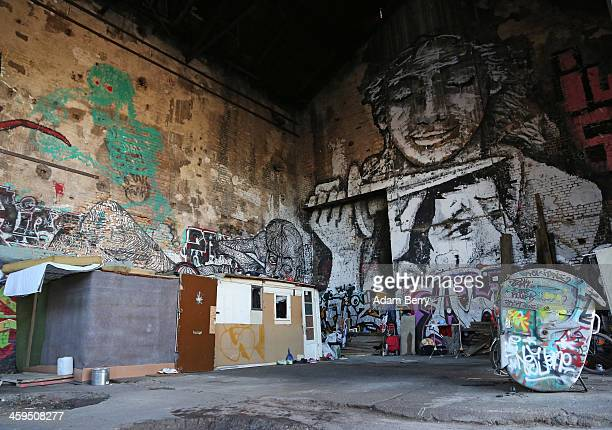 The makeshift shelters of Roma from Bulgaria are seen inside a former ice factory known locally as the Eisfabrik on December 27 2013 in Berlin...