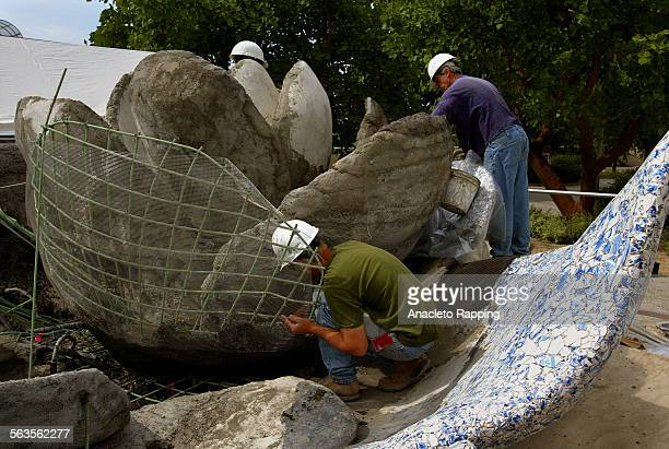 """The making of the delft fountain at the new Disney Concert Hall. The Lillian Disney Memorial Fountain will also be known as """"A Rose for Lilly"""" Frank..."""