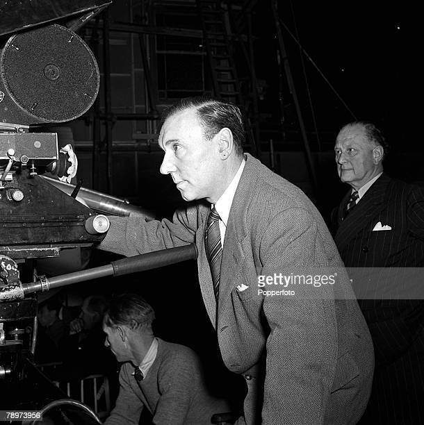 The making of the film 'Home at Seven' with British stage and screen actor Sir Ralph Richardson on the set 1951