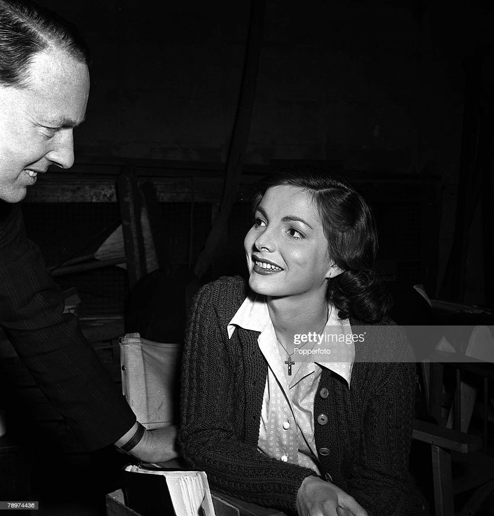"""1952. The making of the film """"The gentle gunman"""" two of it's stars pictured here are Elizabeth Sellars and Gilbert Harding. : News Photo"""