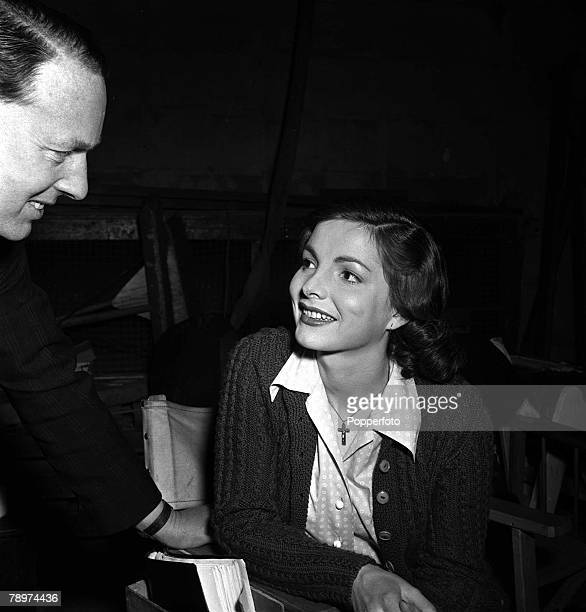 1952 The making of the film The gentle gunman two of it's stars pictured here are Elizabeth Sellars and Gilbert Harding