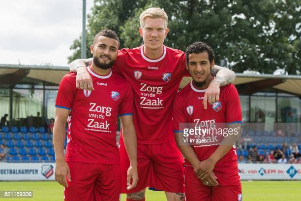 the making of the teamphoto Zakaria Labyad Simon Makienok Yassin Ayoub during the team presentation of FC Utrecht on July 22 2017 at Sportcomplex...