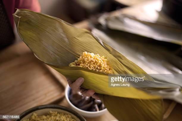 The making of Zongzi, Chinese rice dumplings