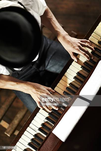 the makings of a creative genius - keyboard player stock photos and pictures