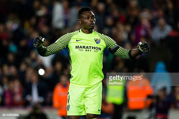 The Malaga CF goalkeeper Carlos Kameni from Camerun celebrating the result for his team during the La Liga match between FC Barcelona vs Malaga CF at...