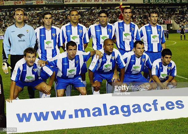 The Malaga team group prior to the Spanish Primera Liga match between Malaga and Real Madrid on September 23 2003 at the La Rosaleda Stadium in...