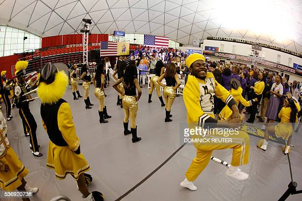 The Malcom X Shabazz High School marching band performs before Democratic presidential candidate Hillary Clinton speaks at a campaign rally June 1 in...