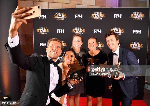 The male and female player award winners pose for a selfie during the Hockey Star Awards night at Stilwerk on February 5 2018 in Berlin Germany