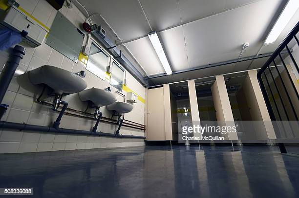 The male toilets at a nuclear bunker site on the Woodside Road industrial estate on February 4 2016 in Ballymena Northern Ireland The underground...