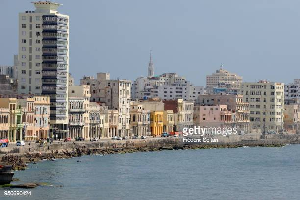 The Malecon is a broad esplanade roadway and seawall which stretches for 8 km along the coast in Havana on August 02 2017 in Havana Cuba