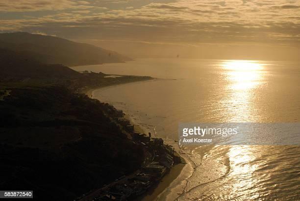 The Malibu coastline in California near dusk