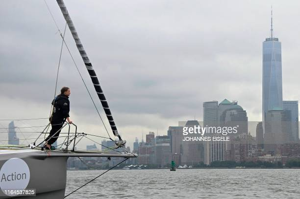 TOPSHOT The Malizia II a zerocarbon yacht with Swedish climate activist Greta Thunberg arrives in the US after a 15day journey crossing the Atlantic...